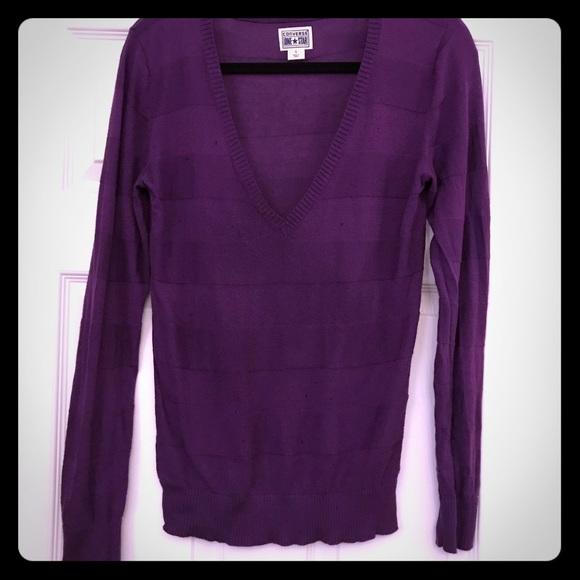 Converse Sweaters - Purple V-neck lightweight sweater. Purple.